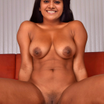 Full nude Megna sexy boobs black nipple shaved pussy without dress on couch