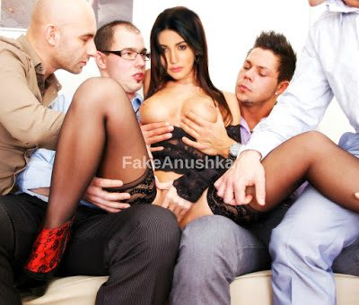 XXX hot actress Anushka Sharma boobs pressed with group of men