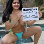 Abhirami Suresh open blouse boobs show near swimming pool pic