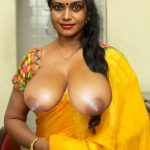 Jayavani big boobs pop out in yellow saree without blouse and bra