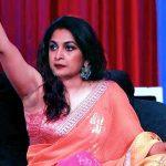 Ramya Krishnan nude armpit in sleeveless blouse exposed in live tv show