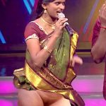 Super Singer Rajalakshmi shaved pussy show in saree without petticoat