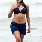 Anumol wet body in beach bikini nude navel hot mallu actress photo